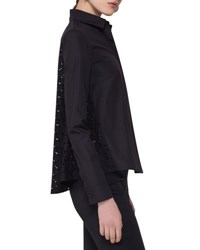 Akris Punto Poplin Blouse W Eyelet Back Black