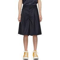 Comme Des Garcons Shirt Navy Carded Wool Gabardine Shorts