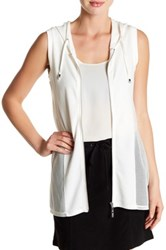 Cable And Gauge Hi Lo Hoodie Vest White