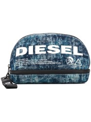 Diesel Logo Print Wash Bag Blue