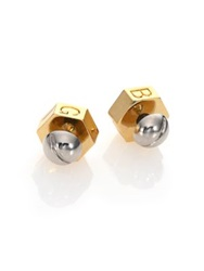 Giles And Brother Nut And Bolt Earrings Gold Silver