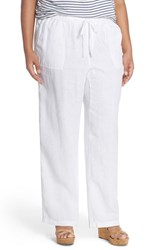Plus Size Women's Caslon Drawstring Linen Pants White