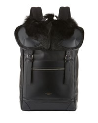 Givenchy Rider Leather Backpack With Fur Flap Black