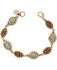 Lucky Brand Gold Tone Turquoise Look Bead And Crystal Bracelet