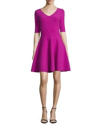 Milly Half Sleeve V Neck Fit And Flare Dress Fuchsia
