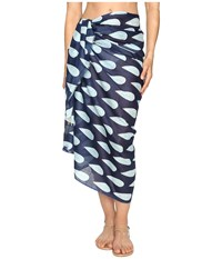 Hat Attack Printed Sarong Cover Up Navy Teardrop Scarves