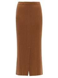 Allude Split Front Ribbed Cashmere Midi Skirt Beige