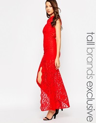 Jarlo Tall High Neck Lace Maxi Dress Red