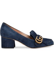 Gucci Suede Mid Heel Pump With Double G Blue