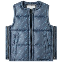 Wooyoungmi All Over Logo Gilet Blue