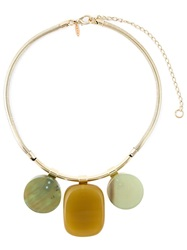 Marni Three Stone Pendant Necklace Metallic