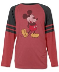 Jem Men's Mickey Mouse Standing Graphic Print Raglan Sleeve T Shirt Red Heather