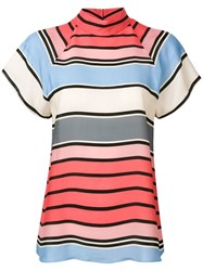 Emporio Armani Striped Short Sleeve Blouse Pink