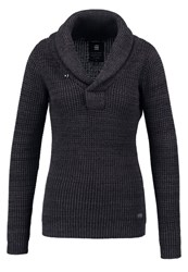 G Star Gstar Tiffly Shawl Collar Jumper Black Asfalt Grey