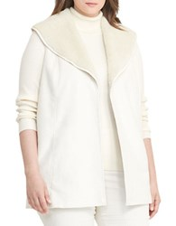 Lauren Ralph Lauren Plus Plus Shawl Collar Vest Winter Cream