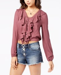 American Rag Juniors' Lace Up Ruffle Top Created For Macy's Bright Mauve