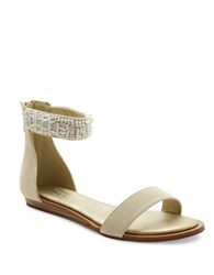 Nanette Lepore Marianne Beaded Ankle Strap Sandals White