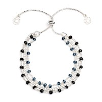 Azuni London Melina Three Strand Bracelet With Iolite And Black Spinel Silver