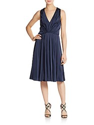 Vera Wang Pleated Cocktail Dress Navy