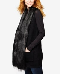 A Pea In The Pod Maternity Faux Fur Trim Vest Black