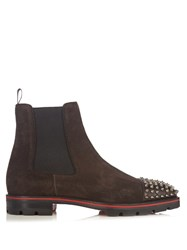 Christian Louboutin Melon Spike Embellished Suede Chelsea Boots Brown