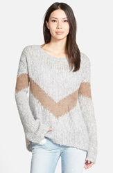 Pam Gela Slouchy Chevron Sweater Grey Camel