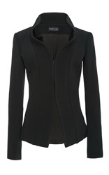 Brandon Maxwell Suiting Cady Rounded Stand Collar Jacket Black