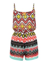 Lipsy Tribal Strapped Michelle Keegan Playsuit Pink