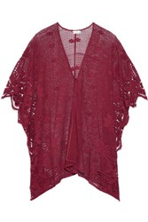 Miguelina Gaby Crocheted Cotton And Guipure Lace Coverup Burgundy