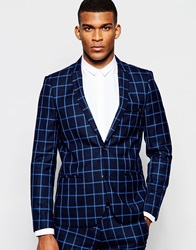 Vito Check Suit Jacket In Slim Fit Blue