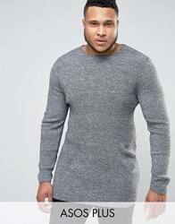 Asos Plus Longline Muscle Fit Ribbed Jumper Black White Twist Grey
