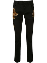 Dolce And Gabbana Floral Flock Detail Skinny Trousers Black