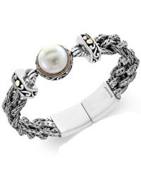 Effy Pearl Lace By Cultured Freshwater Pearl 14Mm Braided Chain Bracelet In Sterling Silver And 18K Gold