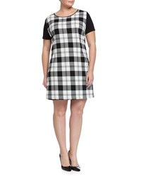 Melissa Masse Plus Zebra Print Short Sleeve Shift Dress Black White