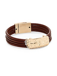 Cara Hammered Plaque Cord Bracelet Luggage Gold