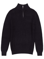 Reiss Moonlight Zip Collar Cotton Jumper Navy