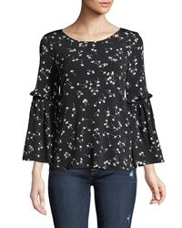 Cynthia Steffe Simple Ditsy Bell Sleeve Blouse Black