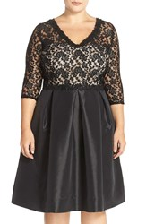 Sangria Lace Taffeta Fit And Flare Dress Plus Size Black Rose