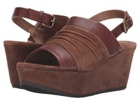 Trask Shari Teak Italian Suede Teak Italian Washed Sheepskin Women's Wedge Shoes Brown