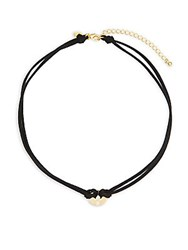 Mhart 18K Goldplated Sterling Silver And Faux Leather Circle Pendant Choker