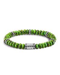 John Hardy Men's Sterling Silver Bedeg Beaded Bracelet With Mohave Green Turquoise