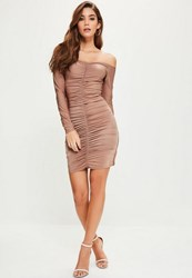 Missguided Tall Pink Slinky Ruched Front Bardot Midi Dress
