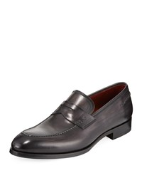 Magnanni Smooth Leather Penny Loafer Gray
