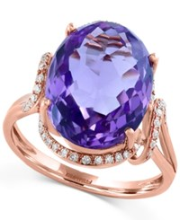Effy Collection Viola By Effy Amethyst 6 5 8 Ct. T.W. And Diamond 1 5 Ct. T.W. Split Shank Ring In 14K Rose Gold