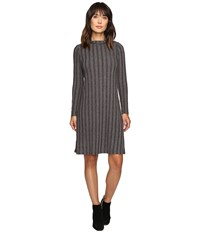 B Collection By Bobeau Ribbed Knit Mock Neck Dress Charcoal Grey Women's Dress Gray