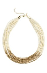 Natasha Couture Women's Beaded Multistrand Necklace Cream Gold