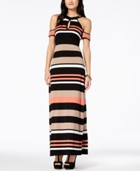 Emerald Sundae Juniors' Striped Cold Shoulder Maxi Dress Black Salmon
