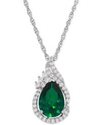 Macy's Lab Created Emerald 1 3 4 Ct. T.W. And White Sapphire 1 4 Ct. T.W. Teardrop Pendant Necklace In Sterling Silver