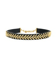 Botkier Choked Up Leather Chevron Choker Necklace Black