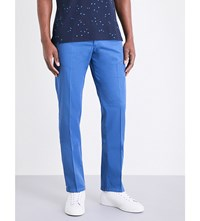 Armani Collezioni Regular Fit Stretch Cotton Chinos Mid Blue